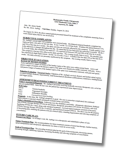 Chiropractic SOAP Note Sample